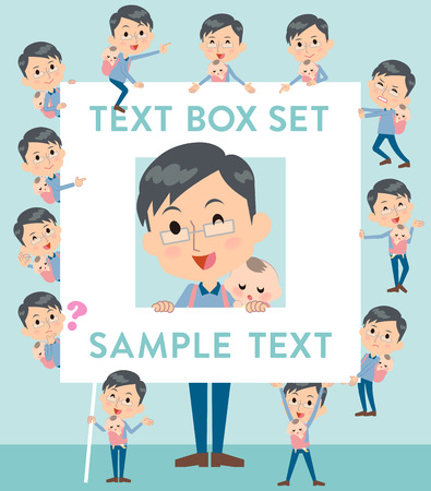 Set of various poses of Dad and baby text box Illustration