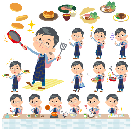 Set of various poses of Dad and baby cooking