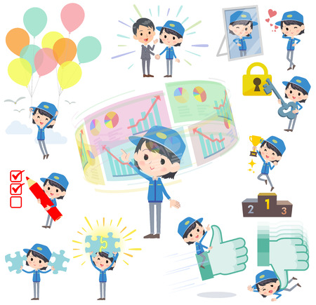 sns: Set of various poses of Delivery woman success & positive