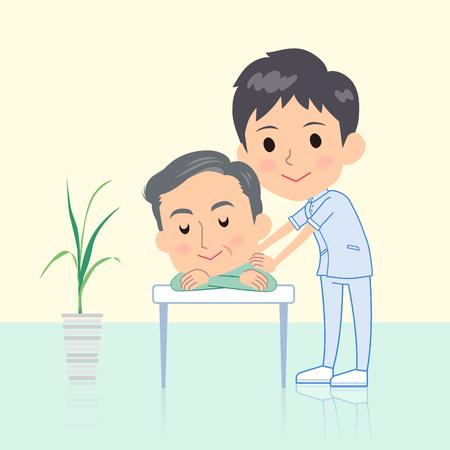 カイロプラクター男マッサージ ポーズ イラスト  イラスト・ベクター素材
