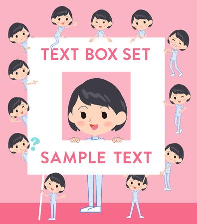Set of various poses of chiropractor woman text box Illustration