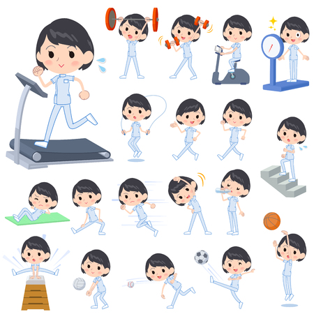 Set of various poses of chiropractor woman Sports & exercise