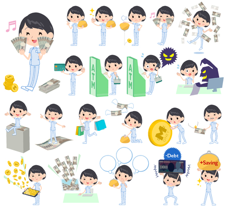 Set of various poses of chiropractor woman money