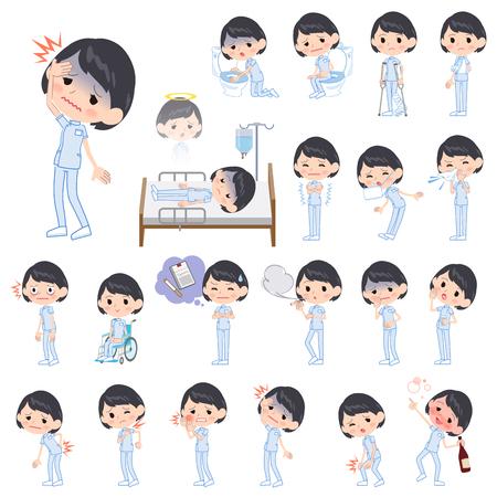 病気についてカイロプラクター女性の様々 なポーズの設定します。  イラスト・ベクター素材