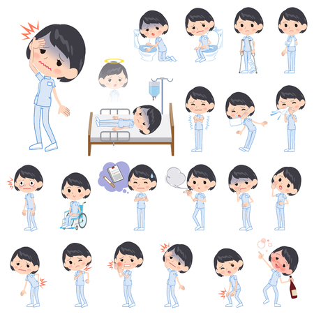 Set of various poses of chiropractor woman About the sickness Illustration