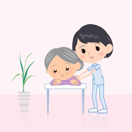 Quiropráctico, mujer, masaje, escena