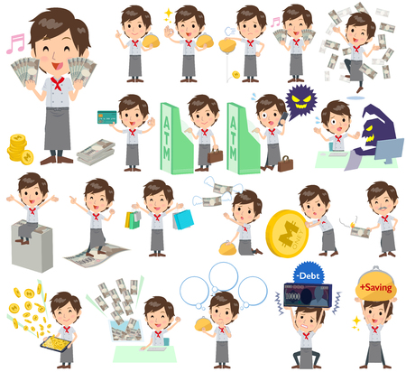 Set of various poses of Western cuisine cook man money