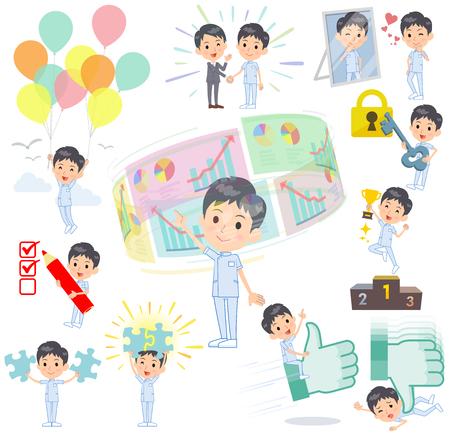 Conjunto de varias poses de éxito de hombre de quiropráctico y positivo