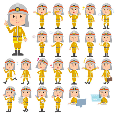 Set of various poses of Firefighter man