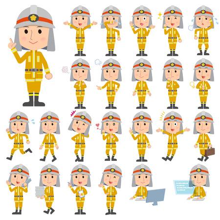 Set of various poses of Firefighter man Banco de Imagens - 77975929