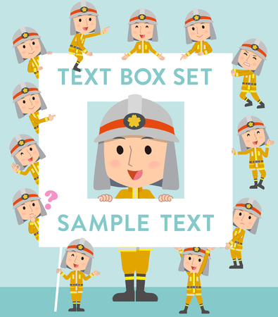 Set of various poses of Firefighter man text box