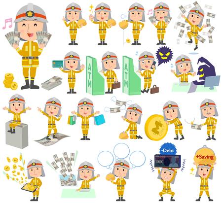 Set of various poses of Firefighter man money Illustration