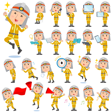 Set of various poses of Firefighter man 2