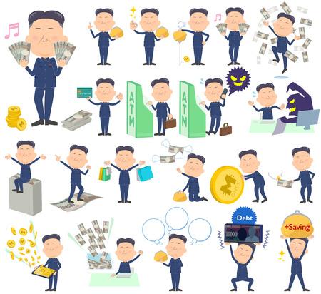 minister of war: Set of various poses of North Korea fat man money