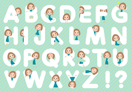 Set of various poses of Bob hair green dress woman A to Z