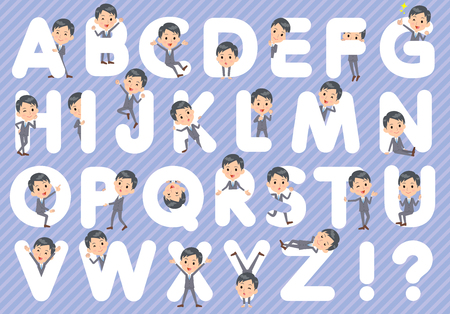 u k: Set of various poses of Gray Suit Businessman A to Z