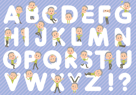 u s: Set of various poses of Green vest grandfather A to Z Illustration