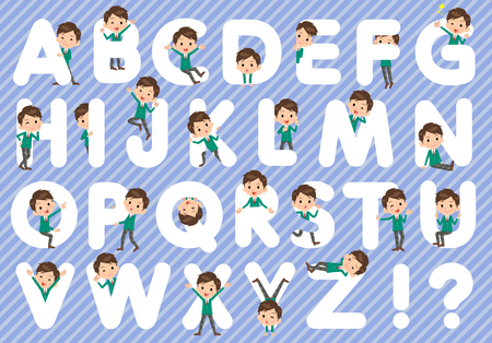 Set of various poses of school boy Green Blazer A to Z