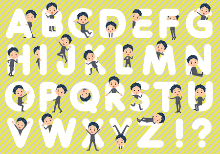 u s: Set of various poses of school boy gakuran A to Z