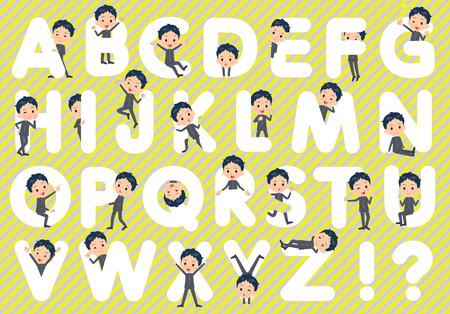 Set of various poses of school boy gakuran A to Z