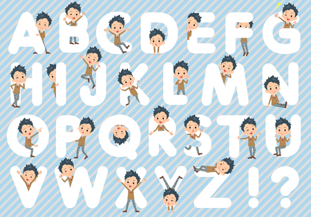 Set of various poses of school boy Brown Blazer A to Z Illustration