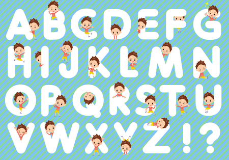 u s: Set of various poses of Red clothing short hair boy A to Z Illustration