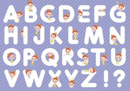 Set of various poses of Polka dot clothes ribbon girl A to Z Illustration