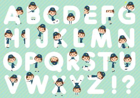 Set of various poses of police Woman A to Z Illustration