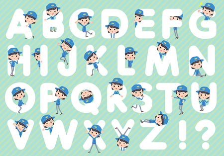 u s: Set of various poses of Delivery woman A to Z