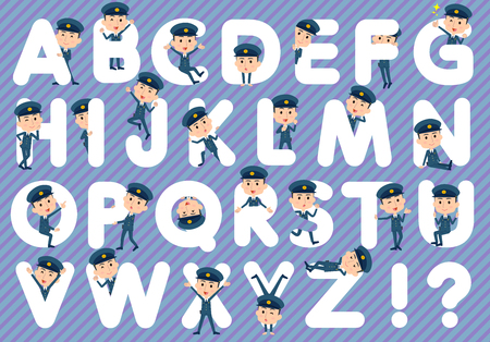 Set of various poses of police man A to Z