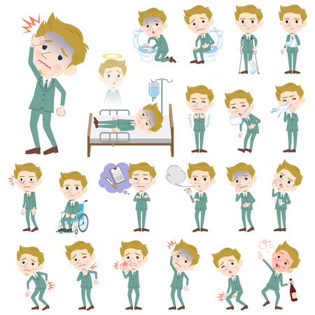 hospitalization: Set of various poses of blond hair man White sickness