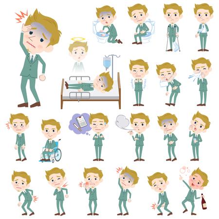 Set of various poses of blond hair man White sickness
