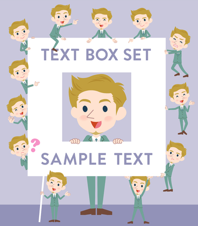 Set of various poses of blond hair man White text box Illustration