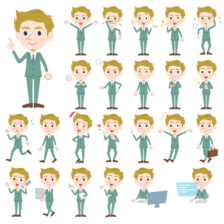Set of various poses of blond hair man White