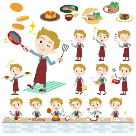 Ensemble de divers poses de blonde homme cuisine cuisine blanche Banque d'images - 80259993