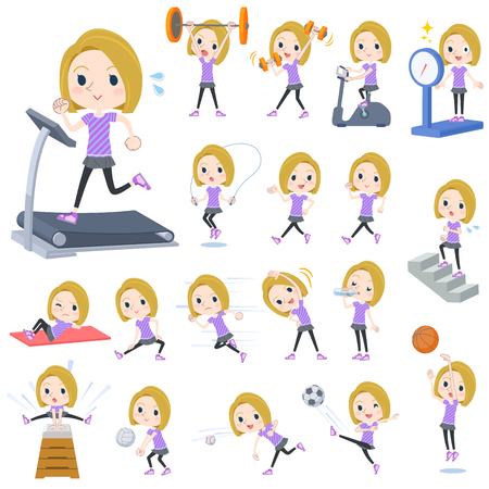 Set of various poses of blond hair woman Sports