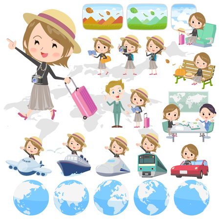 Set of various poses of Short hair black high necked woman travel