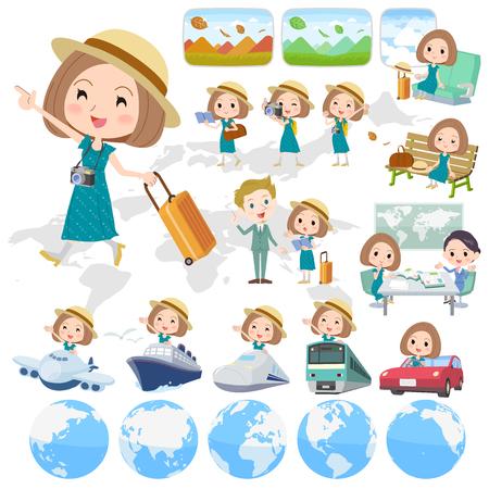 Set of various poses of Bob hair green dress woman travel 向量圖像