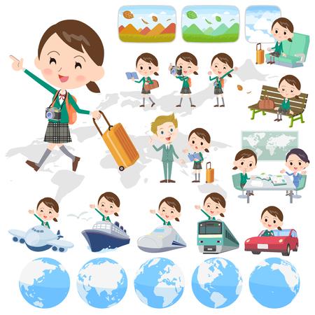 Set of various poses of school girl Green Blazer travel