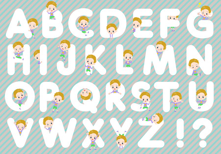 u k: Set of various poses of blond hair boy A to Z