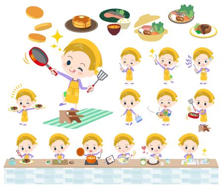 금발 머리 소년 요리의 다양 한 포즈의 집합 일러스트