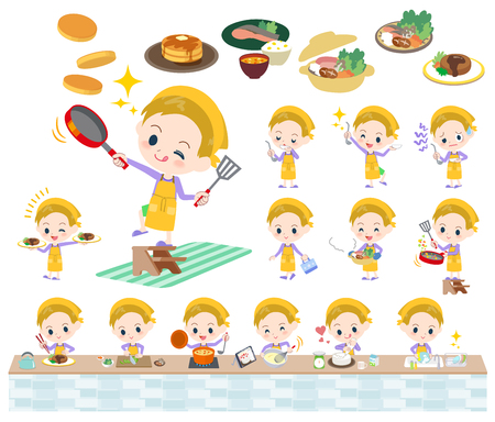 Set of various poses of blond hair boy cooking