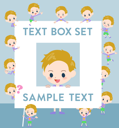 Set of various poses of blond hair boy text box Illustration