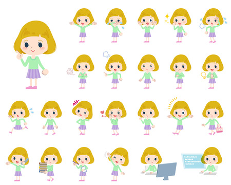 Set of various poses of blond hair girl