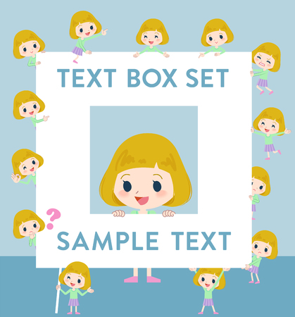 Set of various poses of blond hair girl text box Illustration