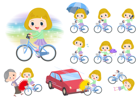 Set of various poses of blond hair girl ride on city bicycle