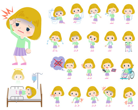 Set of various poses of blond hair girl About the sickness