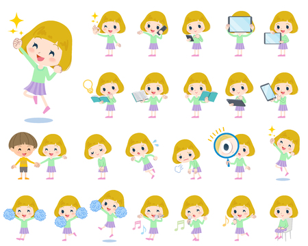 Set of various poses of blond hair girl 2 Illustration