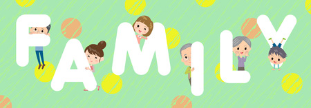 Family character illustration font title Design
