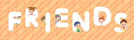 FRIENDS character illustration font title Design Vektoros illusztráció